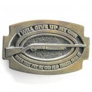 Vintage Great American Buckle I Will Give Up My Gun Brass Belt Buckle
