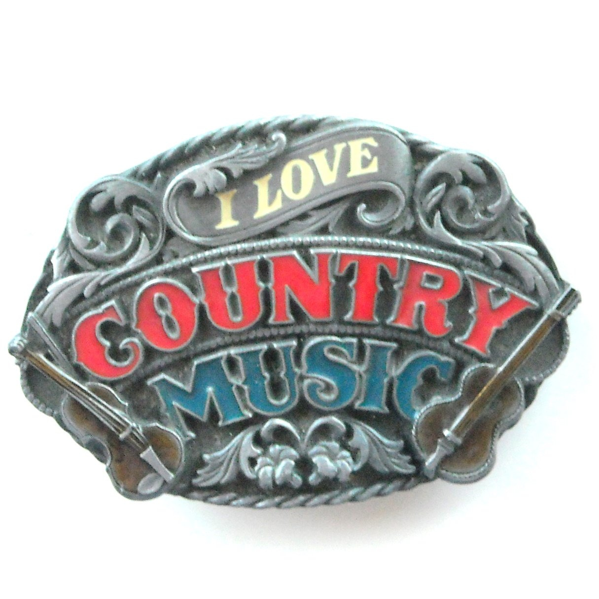 I Love Country Music Siskiyou Pewter Belt Buckle
