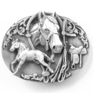 Horse Equestrian Siskiyou 3D pewter belt buckle