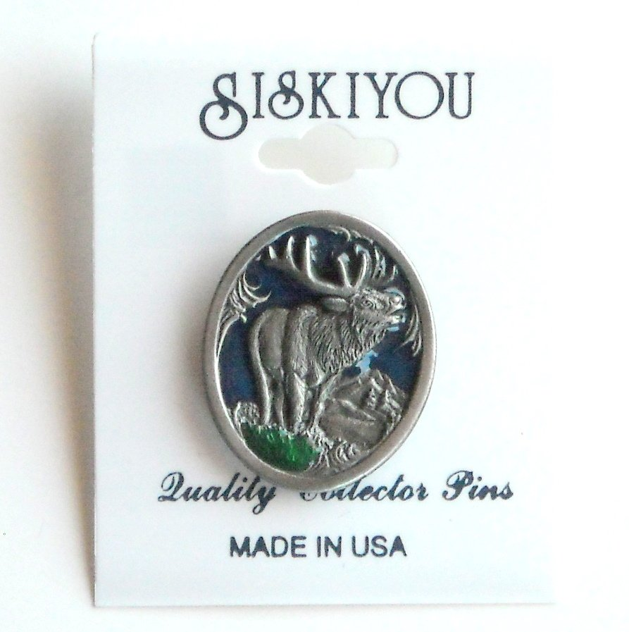 Six Point Elk Bull Siskiyou Pewter Tie Tac Hat Lapel Pin