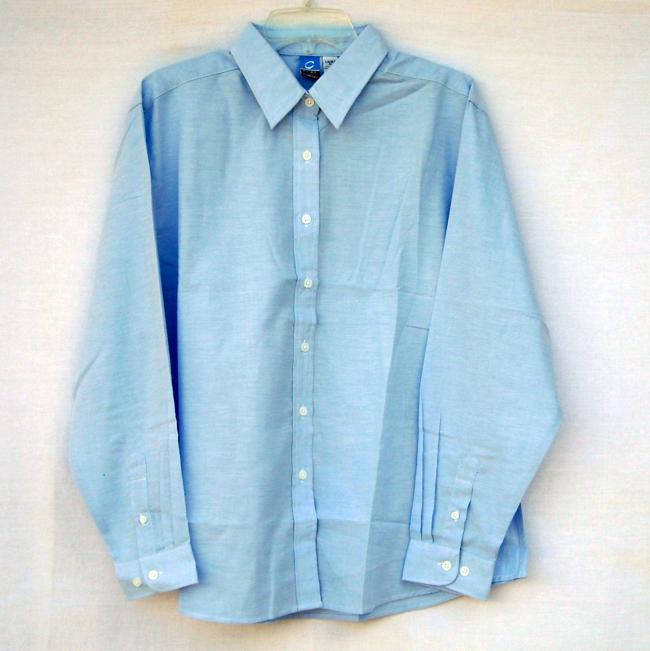 Womens Blue Denim Button Up Shirt Top Size Large