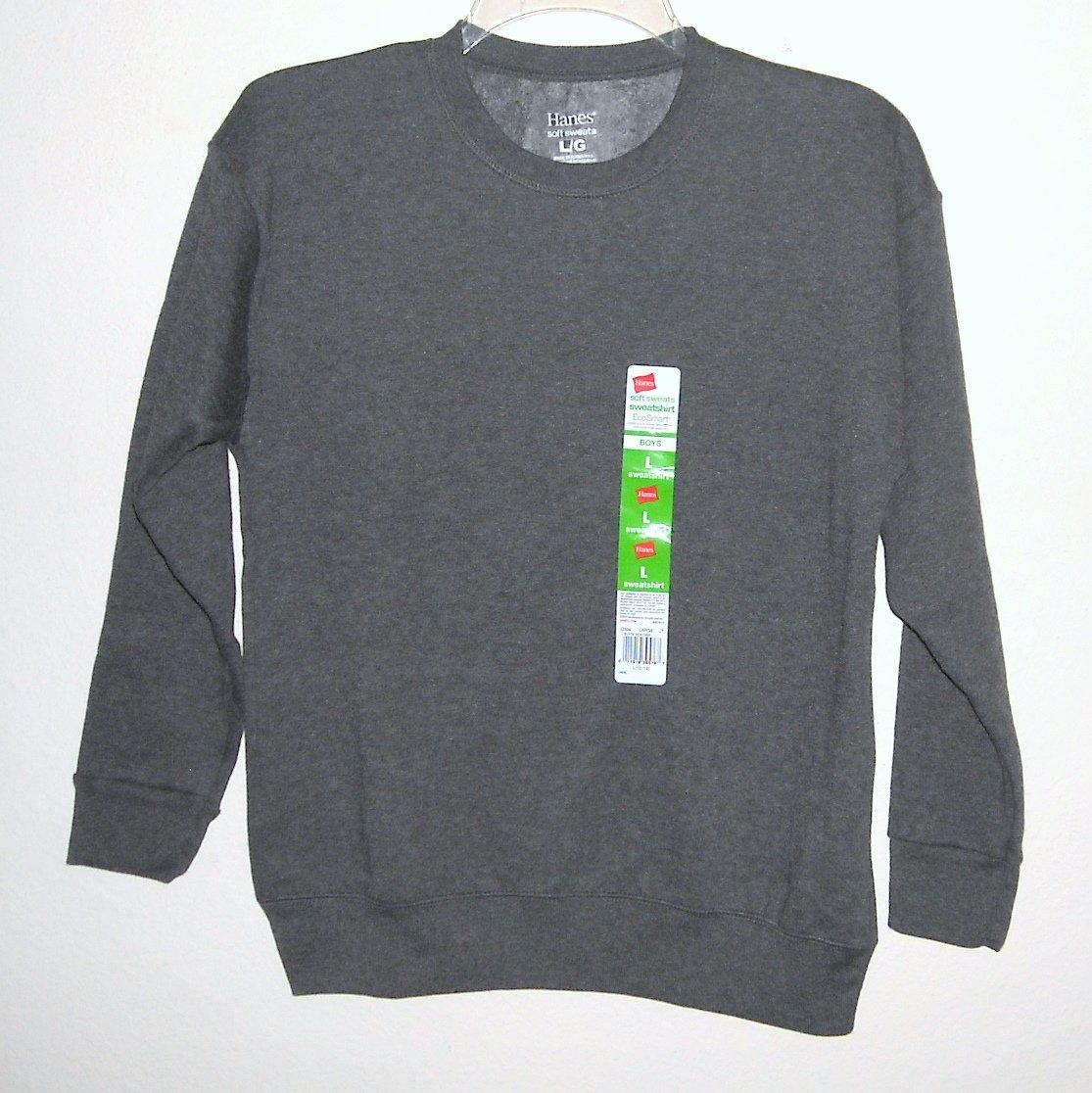 Hanes Boys Soft Slate Sweats Fleece Sweatshirt L / G 10/12