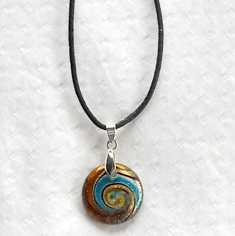 Dichroic glass Murano style long choker length round amber silver pendant necklace