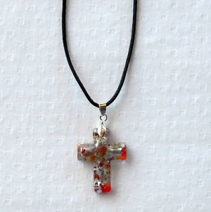 Dichroic glass Murano style multi color silver on red cross pendant necklace