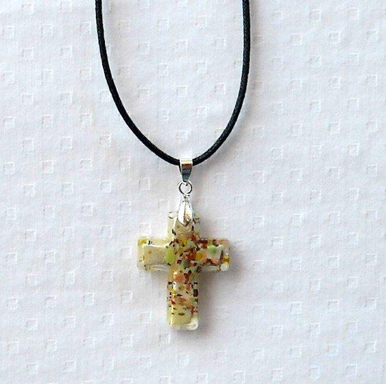 Dichroic glass Murano style multicolored silver on white cross pendant necklace