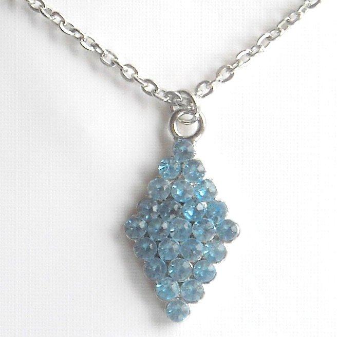 Austrian Crystal Blue Trapezoid Shape Fashion Necklace