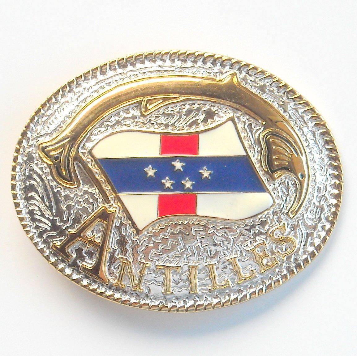 Antilles National Flag Gold Silver Color Large Enamel Belt Buckle