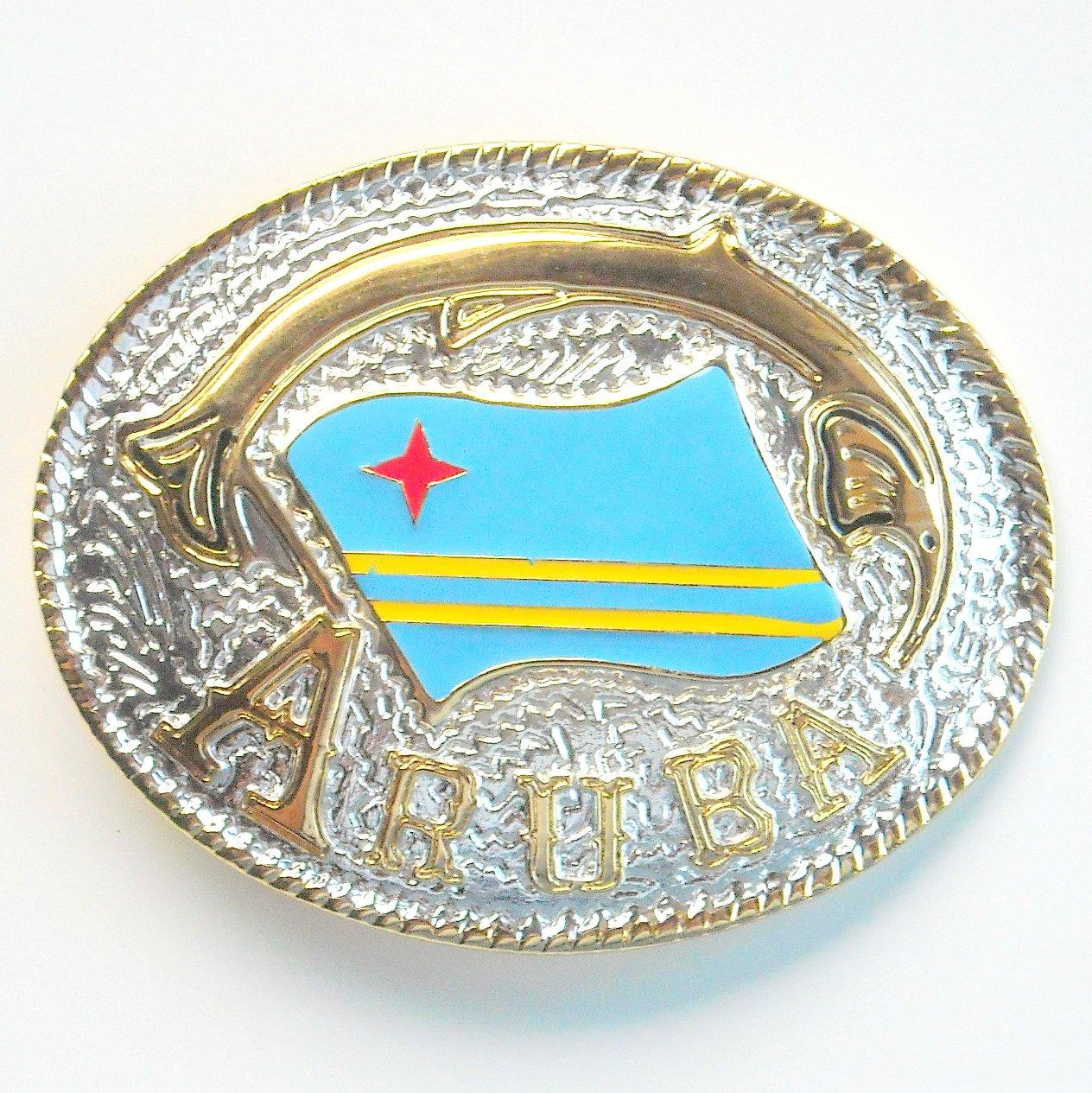 Aruba National Flag Gold Silver Color Large Enamel Belt Buckle