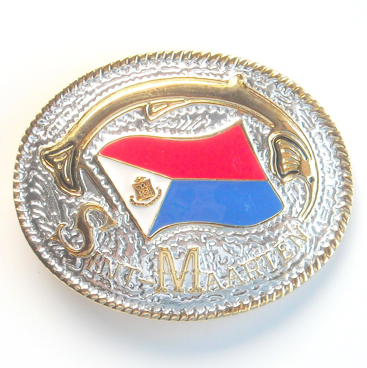 Saint Martin Sint Maarten National Flag Gold and Silver color mens metal belt buckle