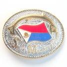 Saint Martin Sint Maarten National Flag Gold and Silver color mens metal belt buckle