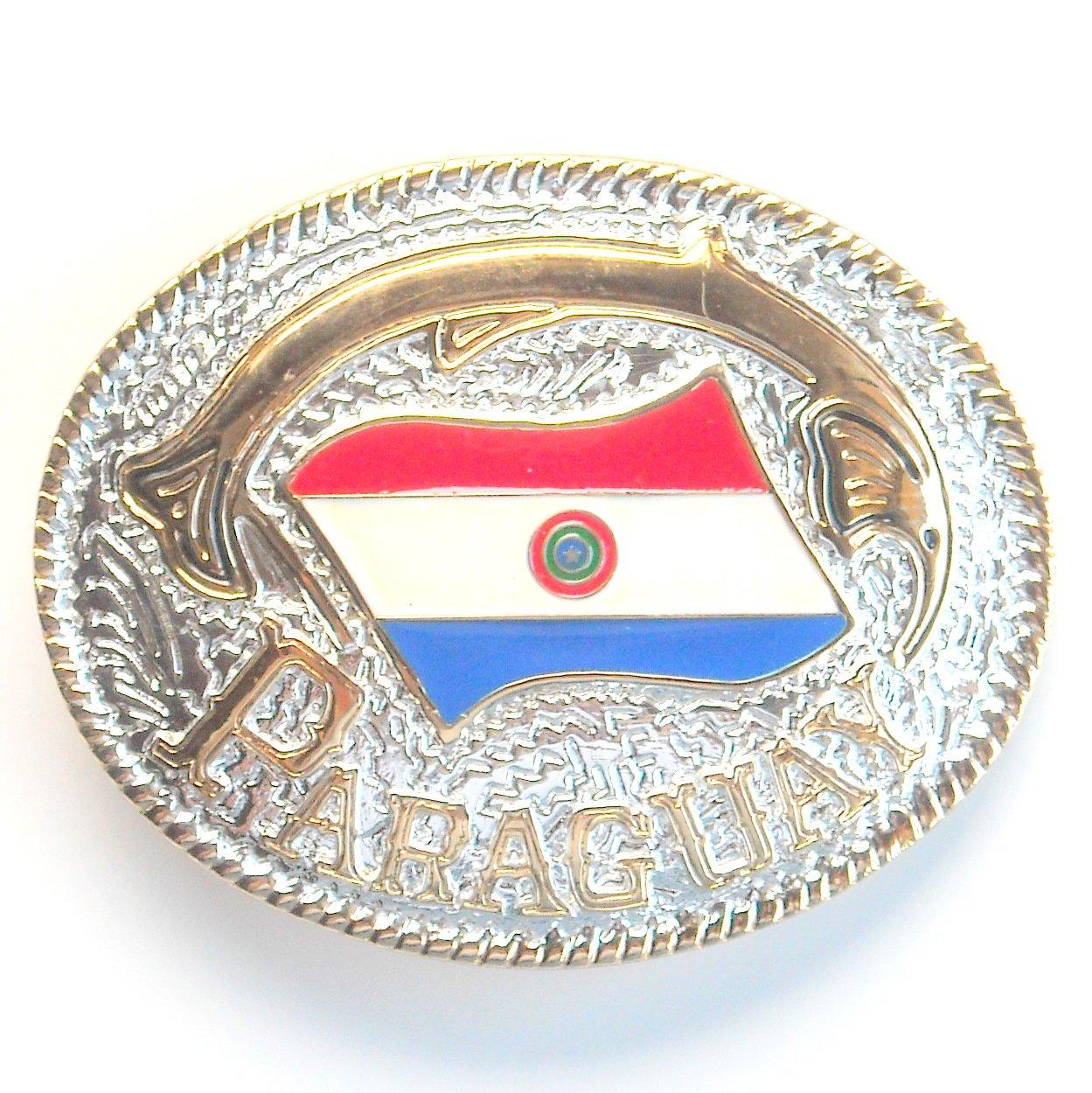 Paraguay National Flag Gold Silver Color Large Enamel Belt Buckle