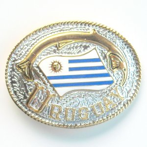 Uruguay National Flag Gold and Silver color mens metal belt buckle
