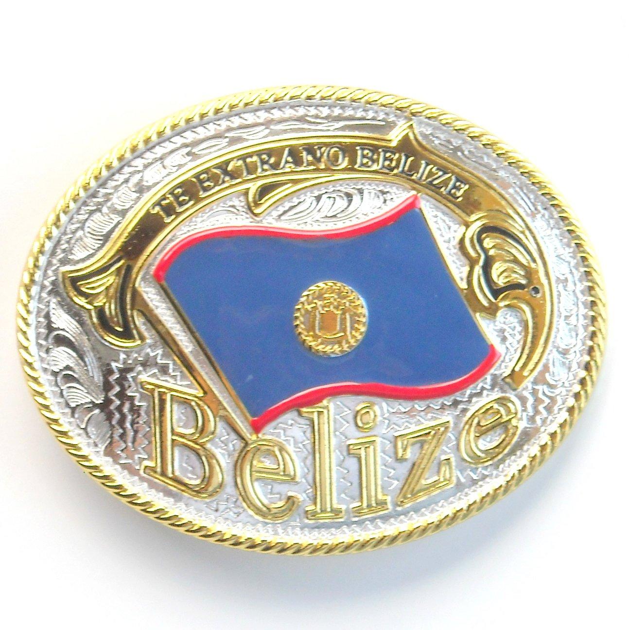 Belize National Flag Gold Silver Color Large Enamel Belt Buckle
