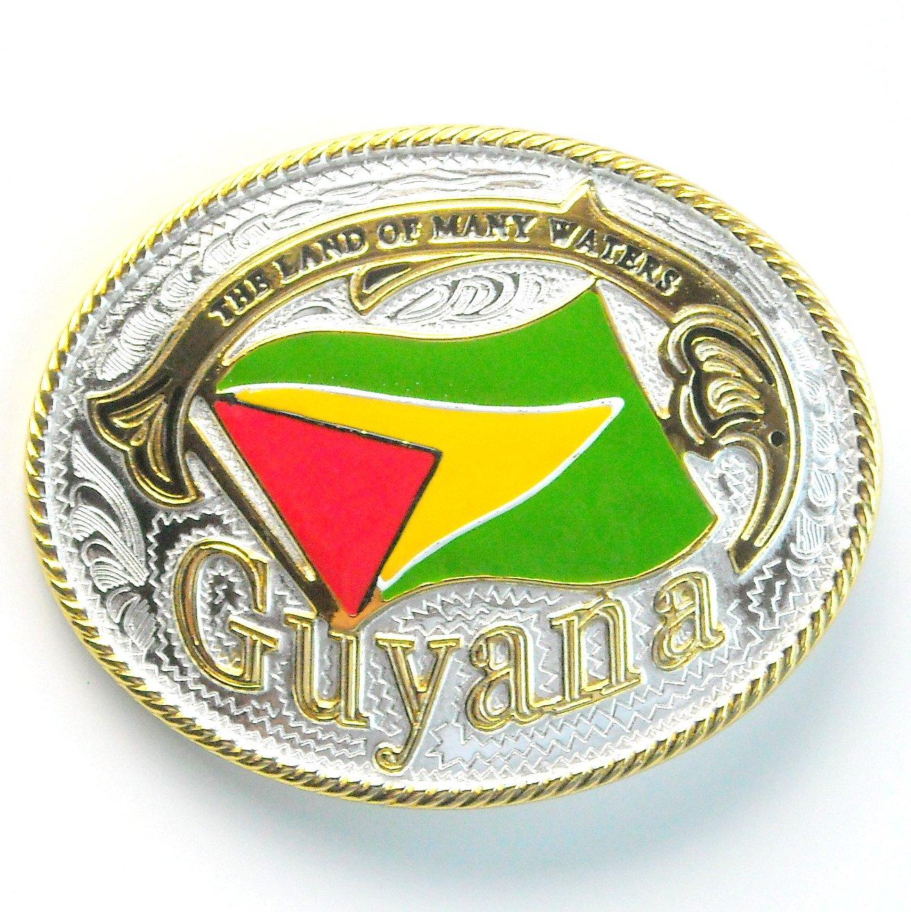 Guyana National Flag Gold Silver Color Large Enamel Belt Buckle