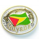 Guyana National Flag Gold and Silver color mens metal large enamel belt buckle