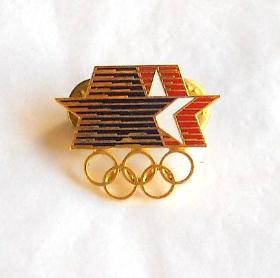 1984 Olympics XXIII Los Angeles Blue White Red stars five Olympic rings tie tac hat lapel pin