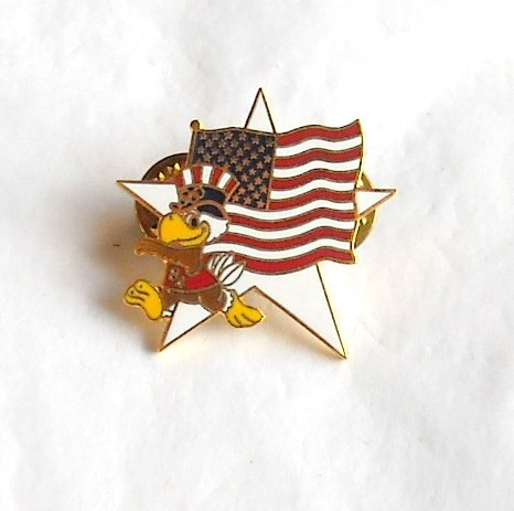 1984 Olympics XXIII Los Angeles Sam the Eagle US flag white star tie tac hat lapel pin
