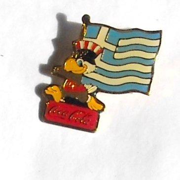 1984 Olympics XXIII Los Angeles Sam Coca Cola Greece flag tie tac hat lapel pin