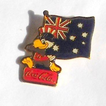 1984 Olympics XXIII Los Angeles Sam Coca Cola Australia flag tie tac hat lapel pin