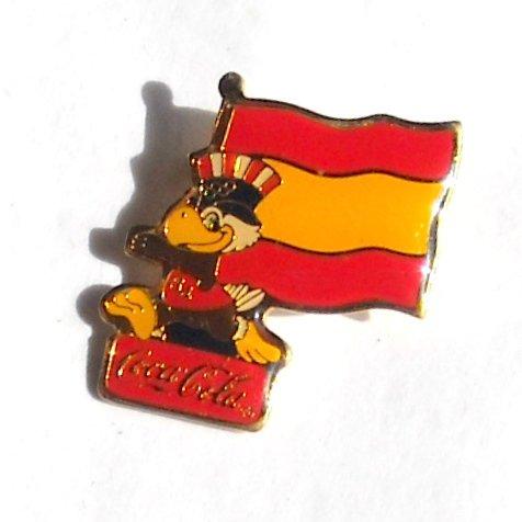 1984 Olympics XXIII Los Angeles Sam Coca Cola Spain flag tie tac hat lapel pin