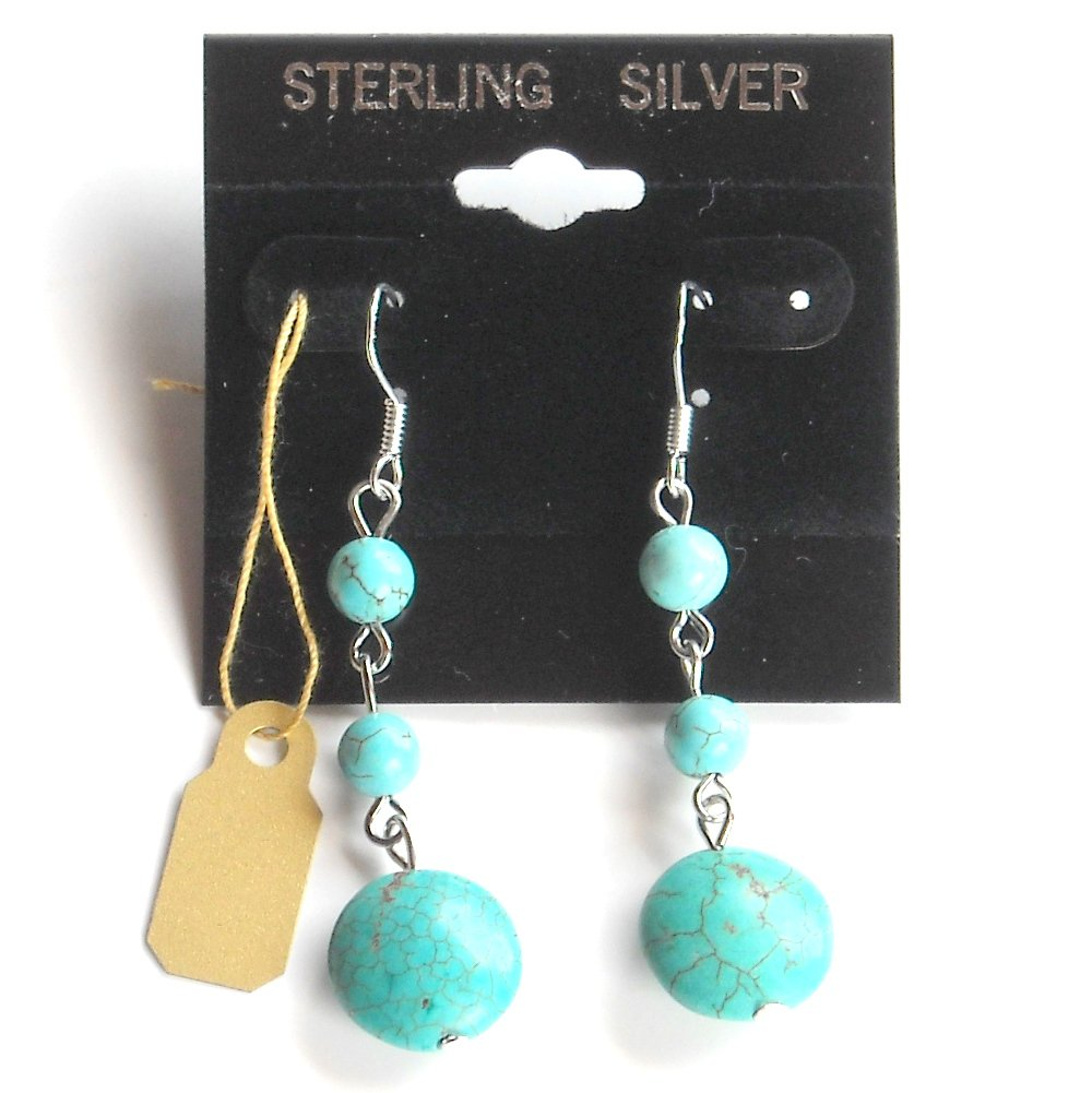 Small Round Turquoise Beads Dangle Sterling Silver Earrings