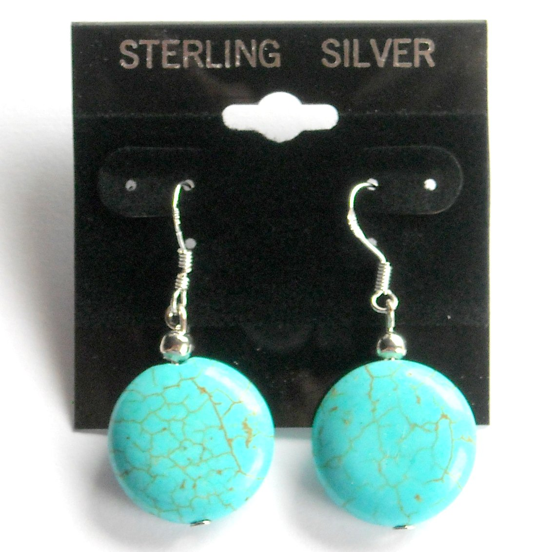 Large Round Turquoise Beads Dangle Sterling Silver Earrings