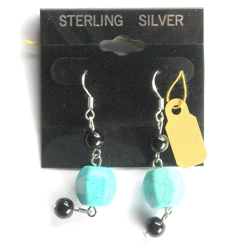Turquoise Black Beads Dangle Sterling Silver Earrings