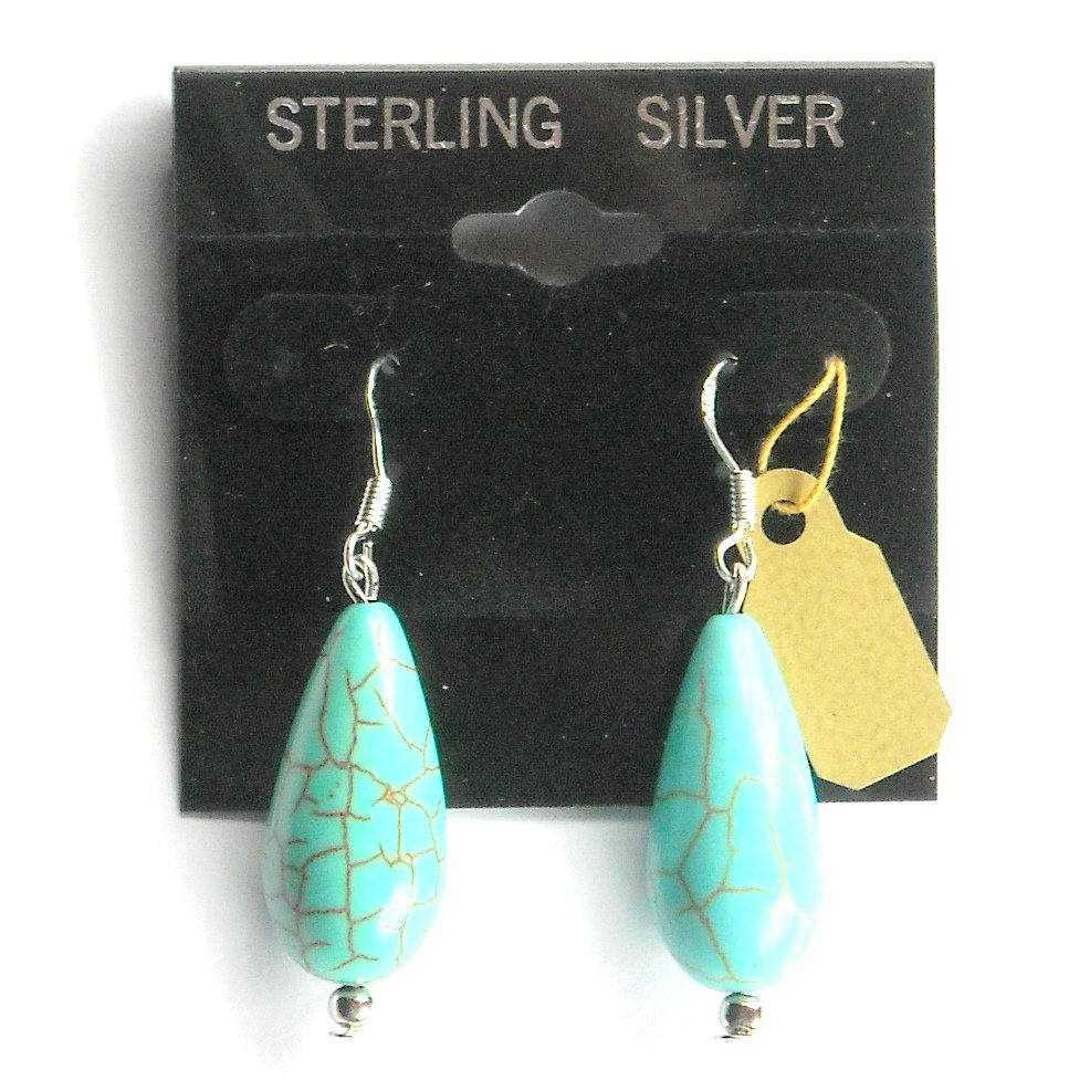 Turquoise Beads Big Drops Dangle Sterling Silver Earrings