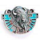 Southwestern Buffalo 3D Bergamot pewter belt buckle