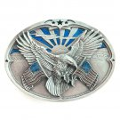 Bergamot 3D American Flags Eagle pewter belt buckle