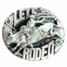 Bergamot 3D Let's Rodeo pewter belt buckle