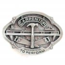 Carpenter Guaranteed To Perform Vintage Bergamot Pewter Belt Buckle