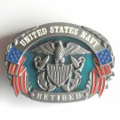 United States Navy Retired Military Siskiyou pewter belt buckle