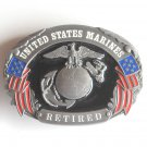 Siskiyou United States Marines Retired Military pewter belt buckle