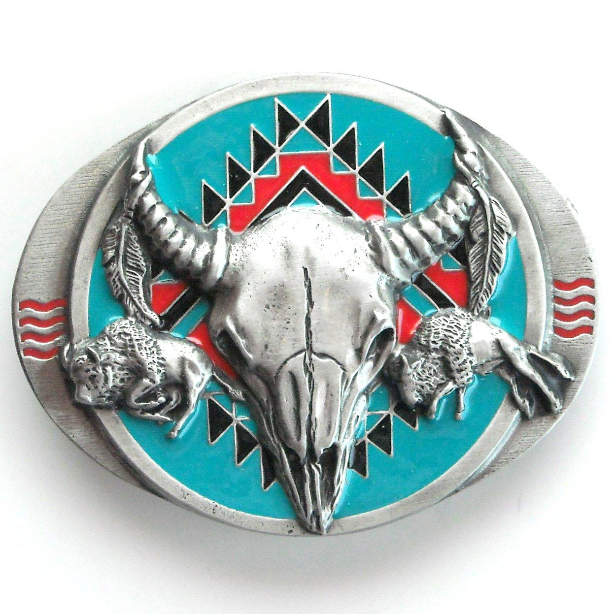 Siskiyou 3D Buffalo Skull Turquoise Native pewter belt buckle