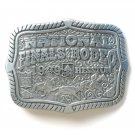 National Finals Rodeo rectangle Pewter alloy belt buckle