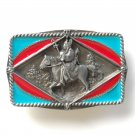Southwestern Riding Warrior 3D C & J Pewter Belt Buckle