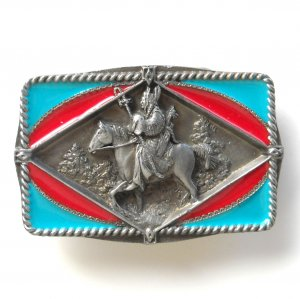 Southwestern Riding Warrior 3D C and J Pewter metal alloy belt buckle