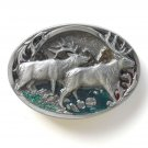 Elk Herd 3D C J Pewter Belt Buckle