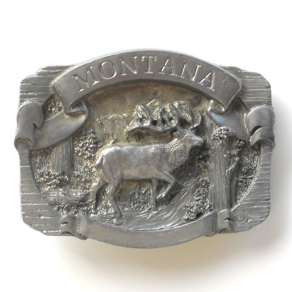 Montana Elk 3D C J Pewter Belt Buckle