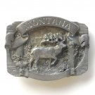 Montana Elk 3D C J Pewter Belt Buckle