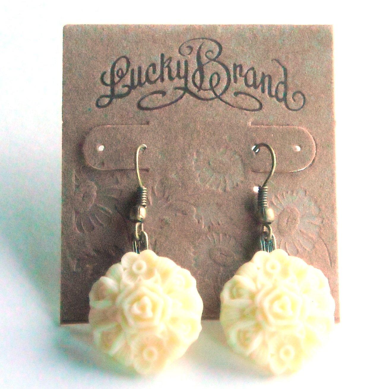 Lucky Brand Beige Molded Love Flowers Gold Color earrings for women