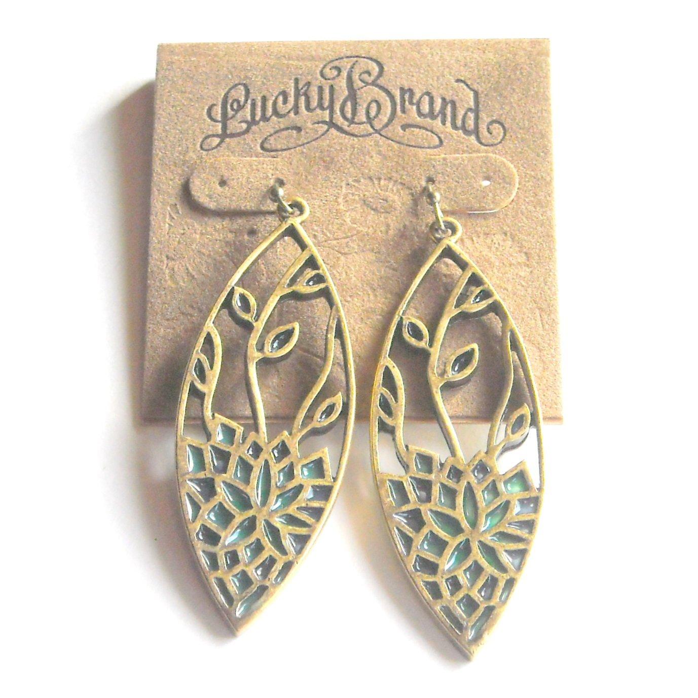 Lucky Brand Lotus Flowers Teardrop Goldtone Open Drop Dangle earrings for women