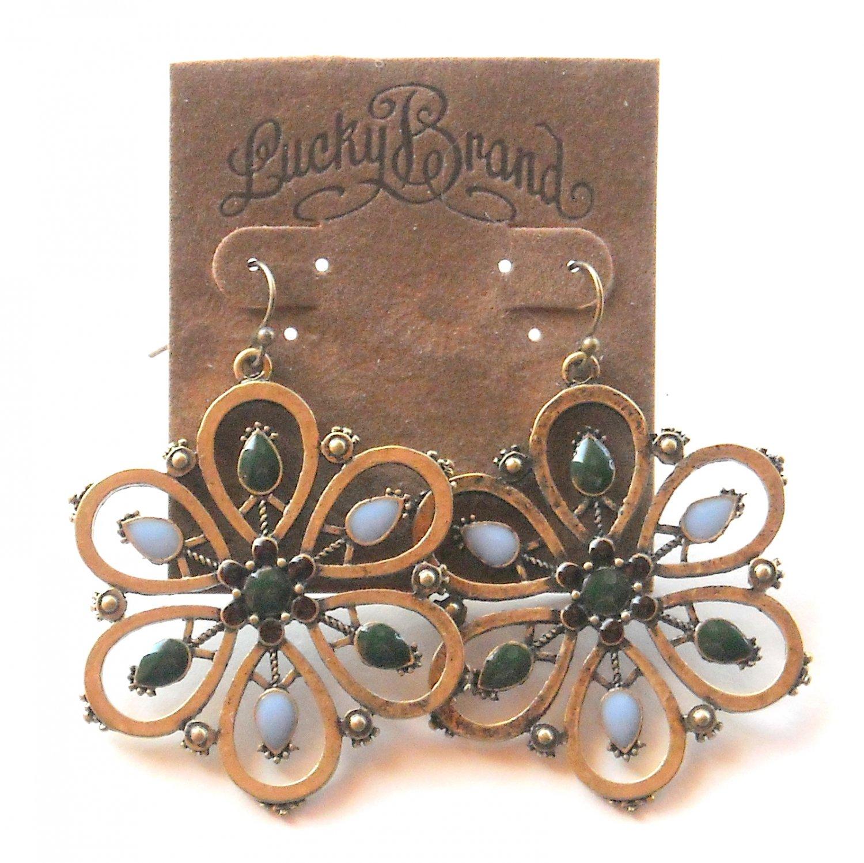 Lucky Brand Flowers Goldtone Open Teardrops Dangle earrings for women