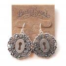 Lucky Brand Openwork Keyhole Silvertone Dangle earrings for women