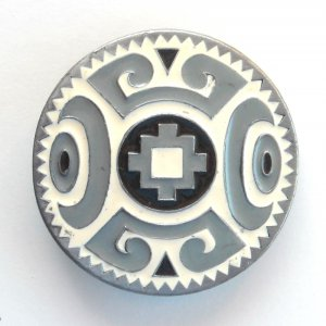 Native American design mens Siskiyou Pewter round belt buckle