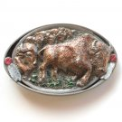 Running Buffalo Herd men's Pewter color 3D belt buckle