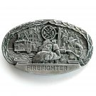 Firefighter Heavy Oval Vintage mens Pewter color belt buckle