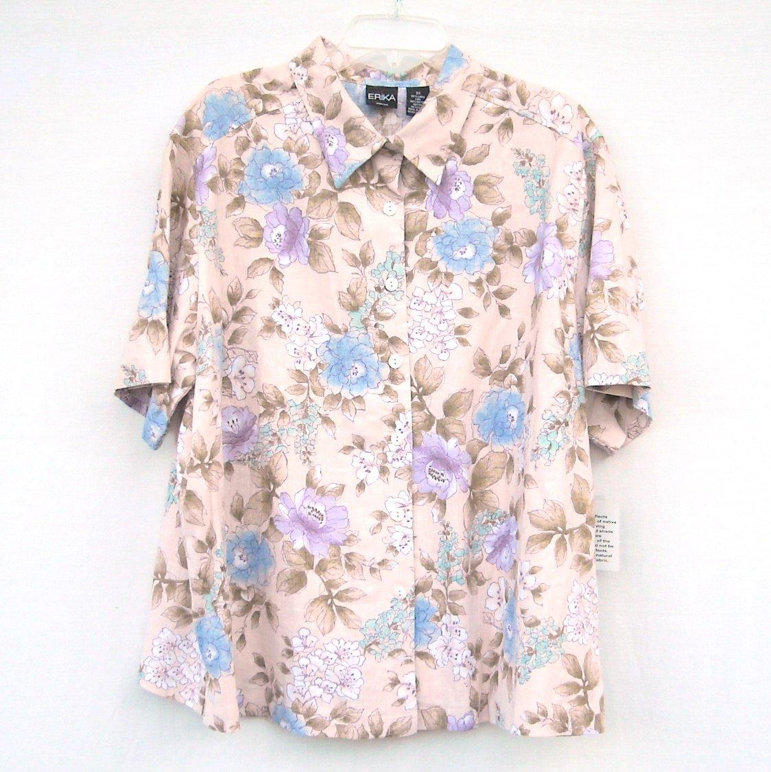 Erica Misses Womens Beige Floral Linen Shirt Top Plus Size 2X