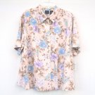 Erica women's Beige Floral Linen Shirt Top Plus size 2X